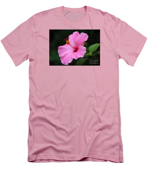 Men's T-Shirt (Slim Fit) featuring the photograph Hibiscus In Pink by Lisa L Silva