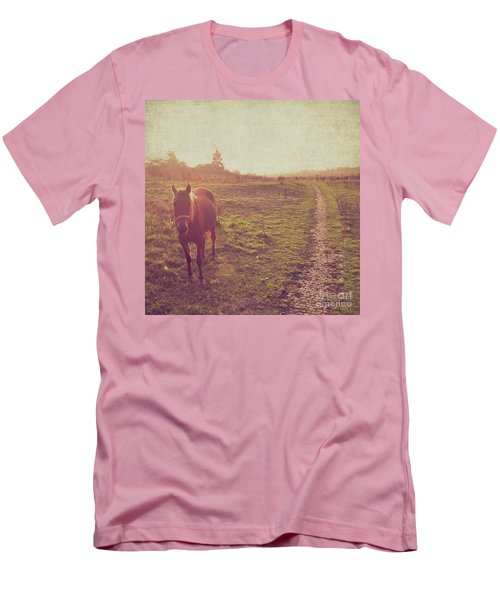 Men's T-Shirt (Slim Fit) featuring the photograph Horse by Lyn Randle