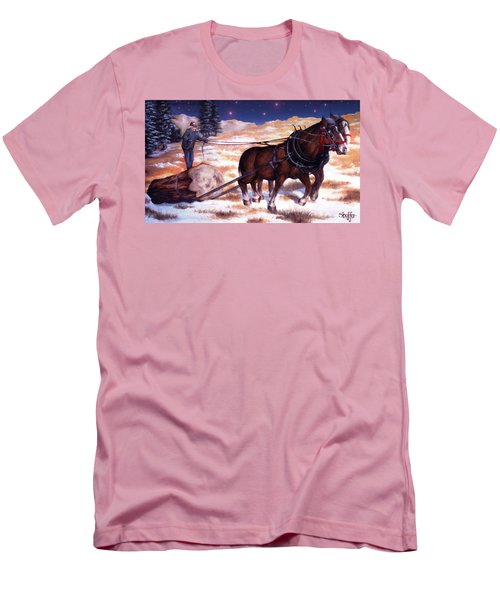 Horses Pulling Log Men's T-Shirt (Slim Fit) by Curtiss Shaffer