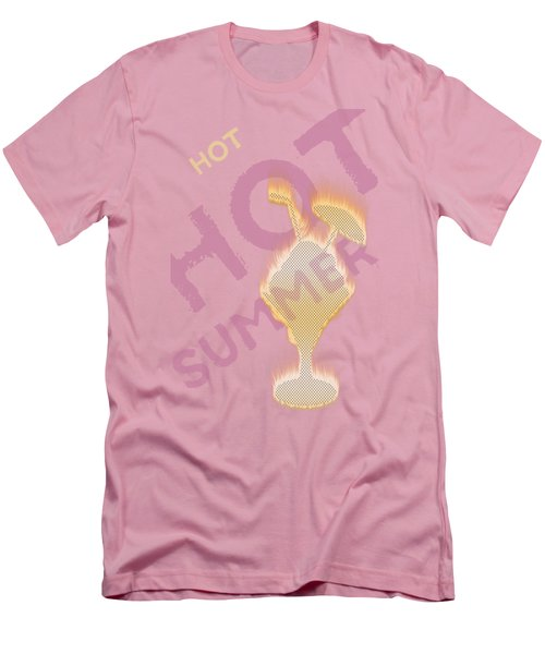 Hot Hot Summer - Burning Ice Cream Bowl - White Men's T-Shirt (Athletic Fit)