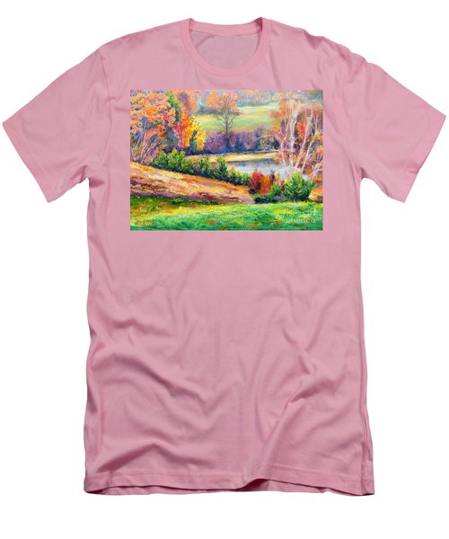 Men's T-Shirt (Slim Fit) featuring the painting Illuminating Colors Of Fall by Lee Nixon