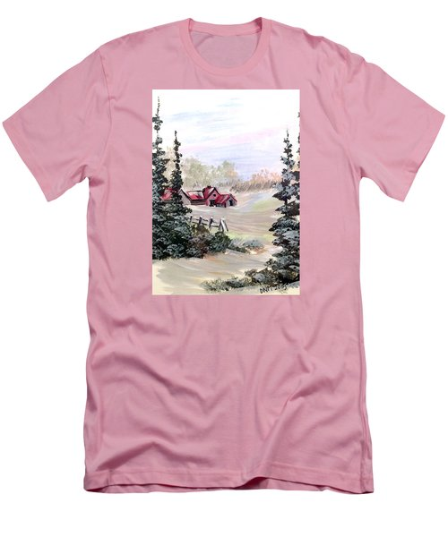 Men's T-Shirt (Slim Fit) featuring the painting It Is Winter - 3 by Dorothy Maier