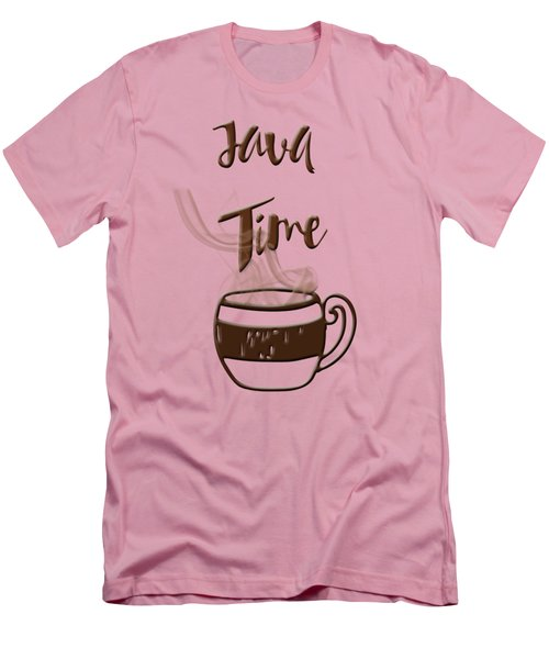 Java Time - Steaming Coffee Cup Men's T-Shirt (Slim Fit) by Joann Vitali