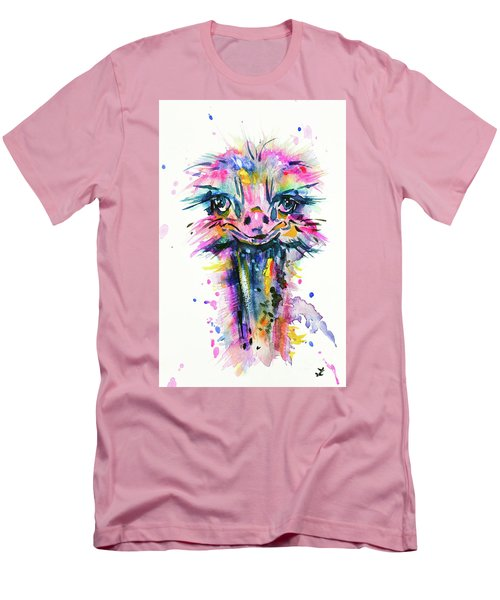 Men's T-Shirt (Athletic Fit) featuring the painting Jazzzy Ostrich by Zaira Dzhaubaeva