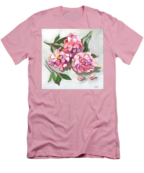 Men's T-Shirt (Slim Fit) featuring the painting June Peonies by Susan Thomas