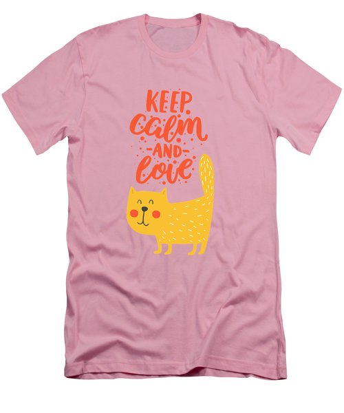 Men's T-Shirt (Slim Fit) featuring the photograph Keep Calm And Love Cute Animals by Edward Fielding