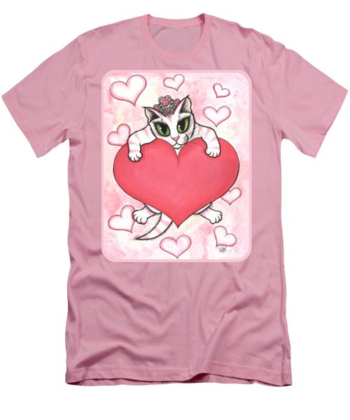 Kitten With Heart Men's T-Shirt (Slim Fit) by Carrie Hawks