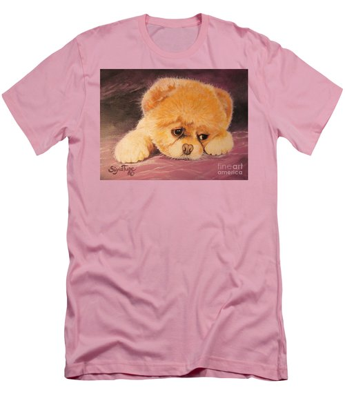 Men's T-Shirt (Slim Fit) featuring the painting Koty The Puppy by Sigrid Tune