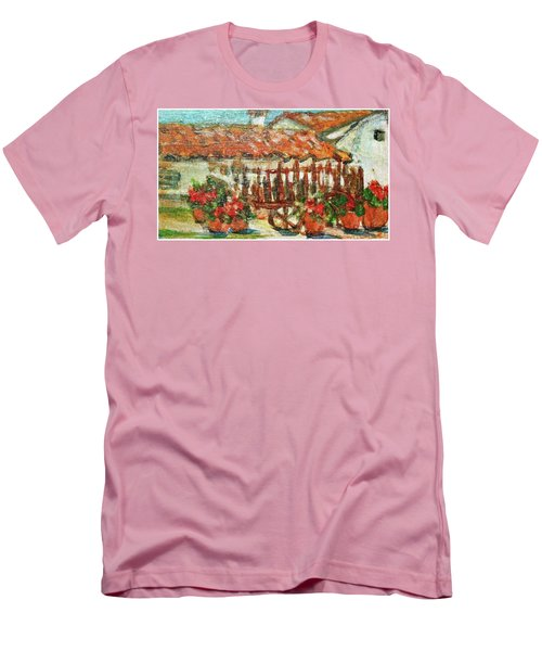 Men's T-Shirt (Slim Fit) featuring the painting La Mancha by Mindy Newman