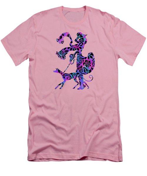 Lady Dog Walker Overlay Transparent Background Men's T-Shirt (Athletic Fit)