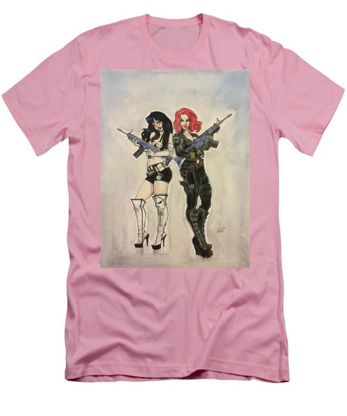 Lady Punisher And Black Widow Men's T-Shirt (Athletic Fit)