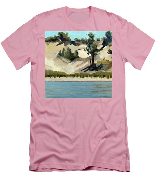 Men's T-Shirt (Athletic Fit) featuring the painting Lake Michigan Dune With Trees And Beach Grass by Michelle Calkins