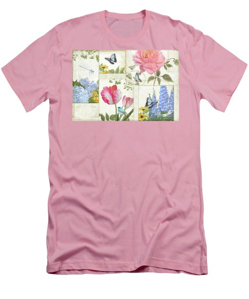 Men's T-Shirt (Athletic Fit) featuring the painting Le Petit Jardin - Collage Garden Floral W Butterflies, Dragonflies And Birds by Audrey Jeanne Roberts