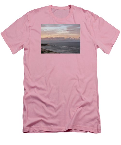 Lighthouse Peach Sunset Men's T-Shirt (Athletic Fit)
