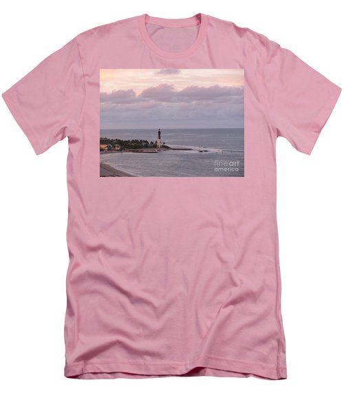 Lighthouse Sunset Peach And Lavender Men's T-Shirt (Athletic Fit)