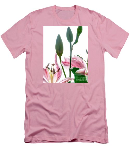 Men's T-Shirt (Athletic Fit) featuring the photograph Pink Oriental Starfire Lilies by David Perry Lawrence