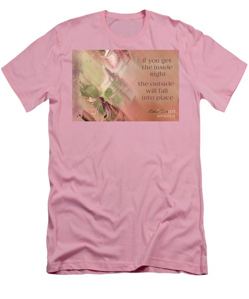 Men's T-Shirt (Slim Fit) featuring the digital art Lily Text - Et01b by Variance Collections