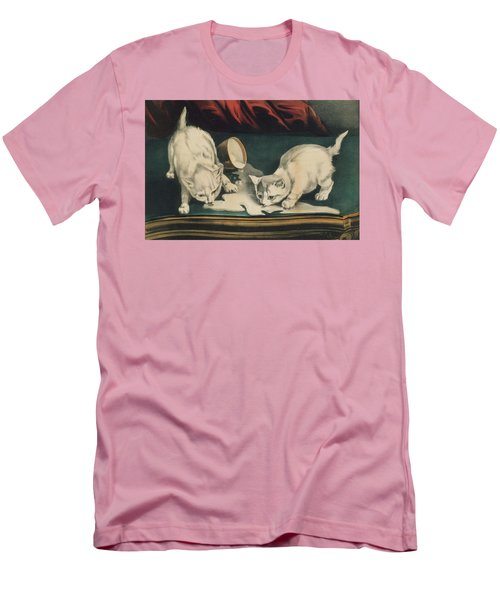 Men's T-Shirt (Athletic Fit) featuring the painting Little White Kitties Into Mischief                                                      by Matthias Hauser