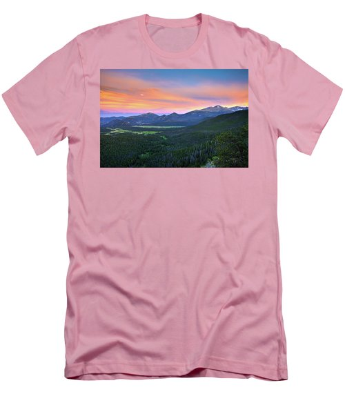 Men's T-Shirt (Athletic Fit) featuring the photograph Longs Peak Sunset by David Chandler