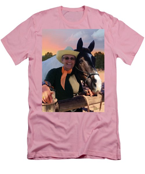 Men's T-Shirt (Slim Fit) featuring the painting Lori And Paco by Doug Kreuger