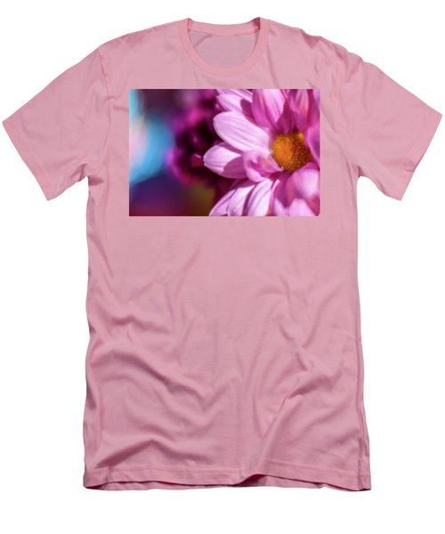Magenta Floral On Blue Men's T-Shirt (Athletic Fit)