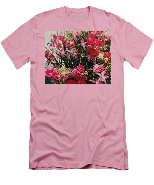Magenta Orchid Garden Men's T-Shirt (Slim Fit) by Marsha Heiken