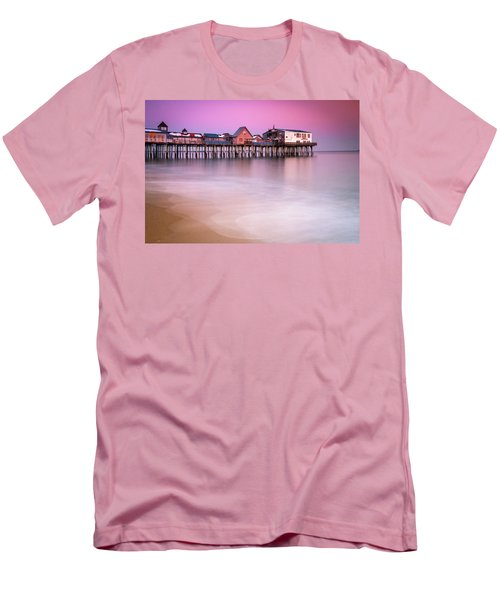 Men's T-Shirt (Slim Fit) featuring the photograph Maine Old Orchard Beach Pier Sunset  by Ranjay Mitra