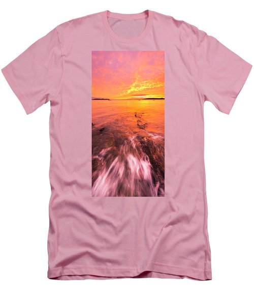 Maine Rocky Coastal Sunset At Kettle Cove Men's T-Shirt (Slim Fit) by Ranjay Mitra