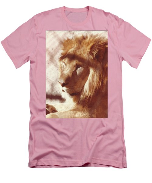 Men's T-Shirt (Slim Fit) featuring the painting Majestic Lion by Margaret Harmon