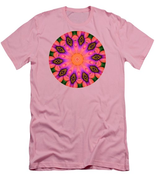 Mandala Salmon Burst - Prints With Salmon Color Background Men's T-Shirt (Slim Fit) by Hao Aiken