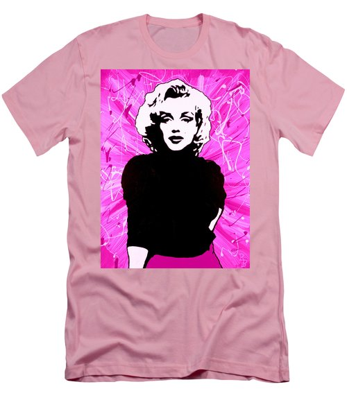 Men's T-Shirt (Athletic Fit) featuring the painting Marilyn Monroe In Hot Pink by Bob Baker