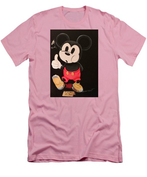 Men's T-Shirt (Slim Fit) featuring the painting Mickey On Tap by Susan Roberts