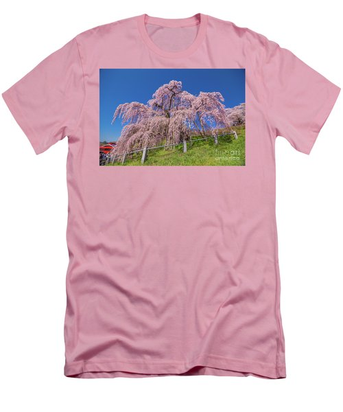 Men's T-Shirt (Athletic Fit) featuring the photograph Miharu Takizakura Weeping Cherry0565 by Tatsuya Atarashi