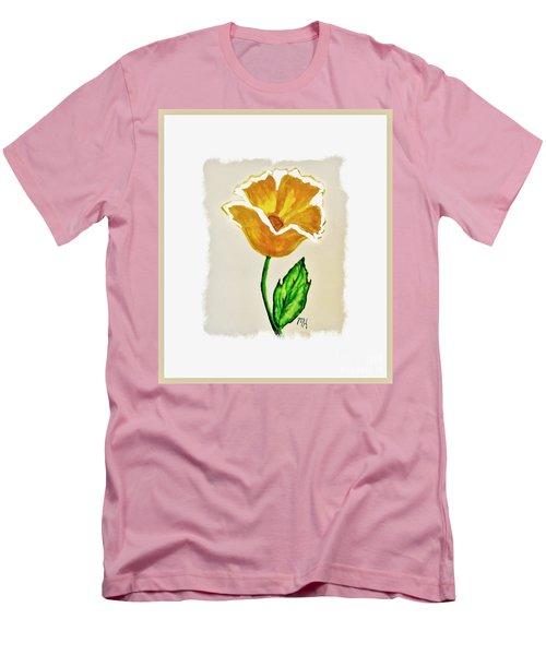 Men's T-Shirt (Slim Fit) featuring the painting Modern Gold Flower by Marsha Heiken