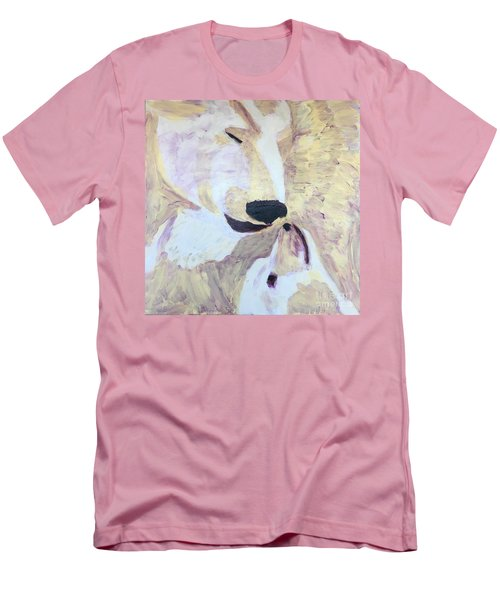 Men's T-Shirt (Slim Fit) featuring the painting Momma Bear Checking On Her Cub by Donald J Ryker III