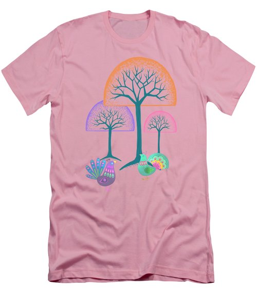 Moon Bird Forest Men's T-Shirt (Slim Fit) by Little Bunny Sunshine
