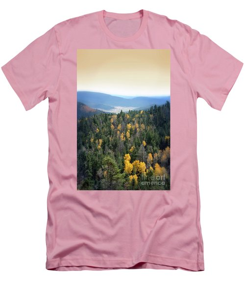 Mountains And Valley Men's T-Shirt (Slim Fit) by Jill Battaglia