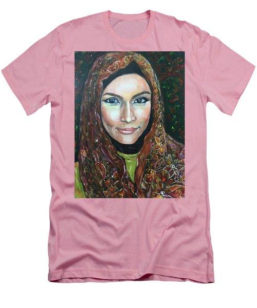 Men's T-Shirt (Slim Fit) featuring the painting My Fair Lady II - Come Home - Geylang Si Paku Geylang by Belinda Low