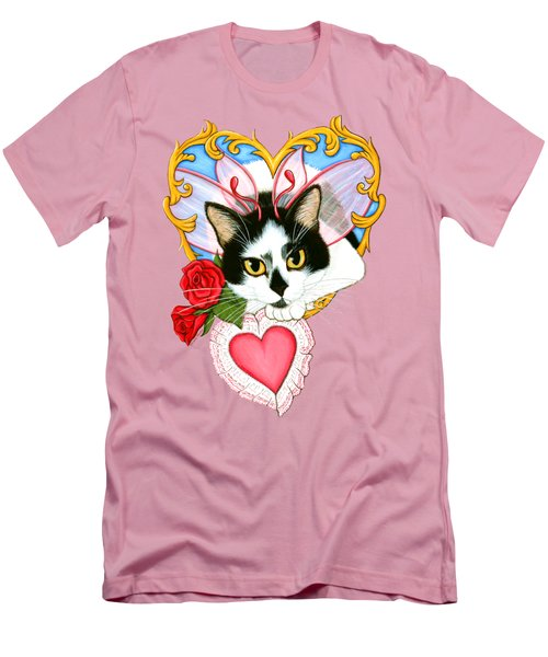 Men's T-Shirt (Slim Fit) featuring the painting My Feline Valentine Tuxedo Cat by Carrie Hawks