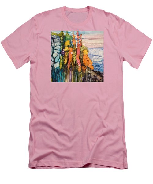 Men's T-Shirt (Slim Fit) featuring the painting Mystical Garden by Suzanne Canner