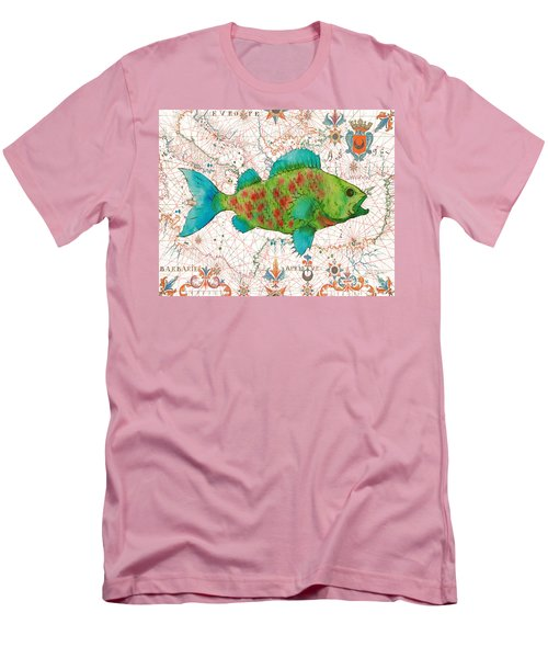 Men's T-Shirt (Slim Fit) featuring the painting Nautical Treasures-a by Jean Plout