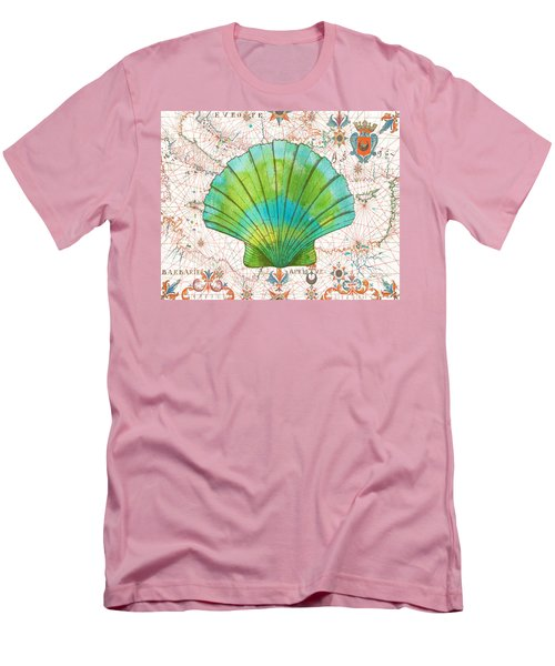 Men's T-Shirt (Slim Fit) featuring the painting Nautical Treasures-b by Jean Plout