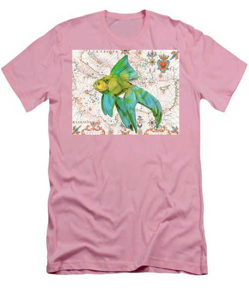 Men's T-Shirt (Slim Fit) featuring the painting Nautical Treasures-e by Jean Plout