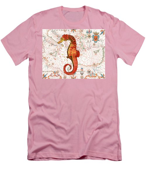 Men's T-Shirt (Slim Fit) featuring the painting Nautical Treasures-i by Jean Plout
