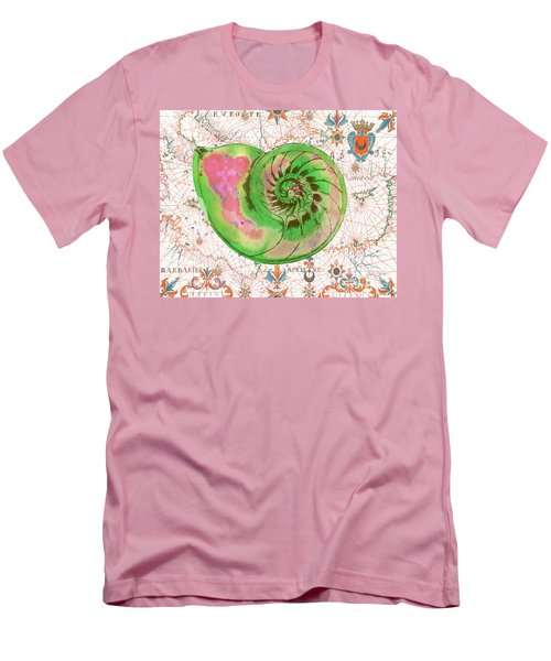 Men's T-Shirt (Slim Fit) featuring the painting Nautical Treasures-o by Jean Plout