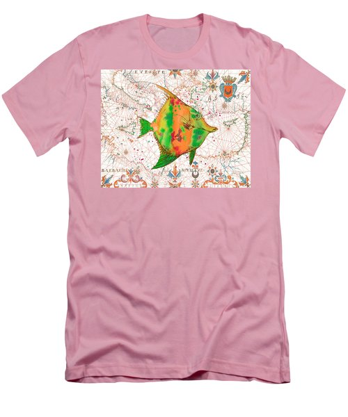 Men's T-Shirt (Slim Fit) featuring the painting Nautical Treasures-q by Jean Plout