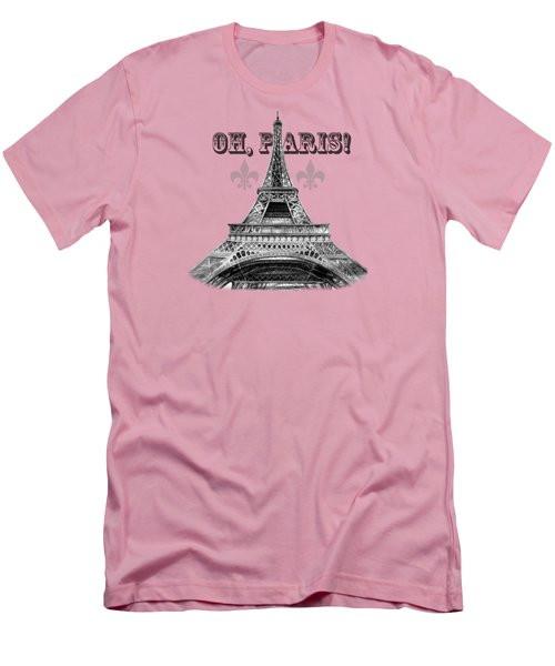 Oh Paris Eiffel Tower Men's T-Shirt (Slim Fit) by Irina Sztukowski