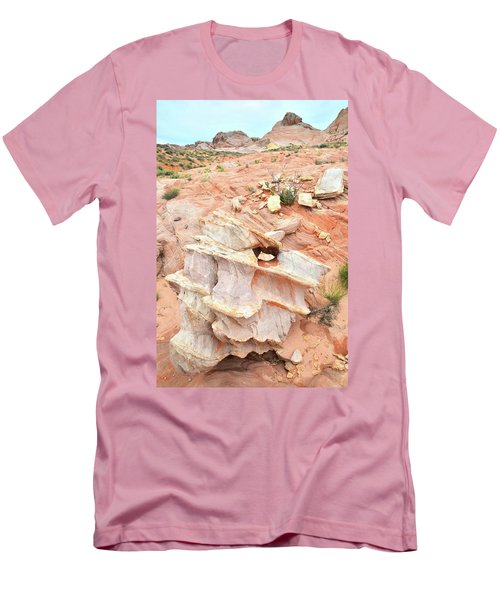 Men's T-Shirt (Slim Fit) featuring the photograph Ornate Rock In Wash 4 Of Valley Of Fire by Ray Mathis