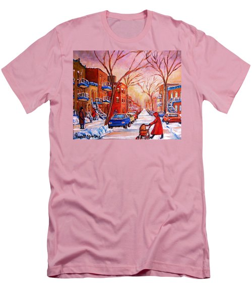 Men's T-Shirt (Slim Fit) featuring the painting Out For A Walk With Mom by Carole Spandau