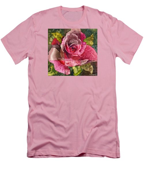 Men's T-Shirt (Slim Fit) featuring the painting Partitioned Rose IIi by Anne Gifford